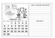 English Worksheet: Calendar 2011 - February and March + diaries