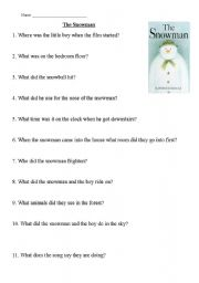 English Worksheet: The Snowman - Christmas Video Comprehension