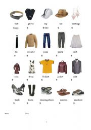 Vocabulary worksheets > Clothes > clothes and prices flash card