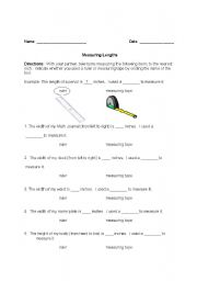 English Worksheets: Tape Measures and Rulers