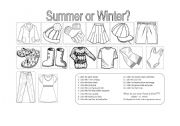 English Worksheet: Clothes for Summer or Winter? (2 pages)