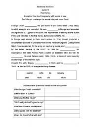 free bio template fill in blank - english teaching worksheets biographies