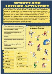 English Worksheet: Sports & Leisure activities