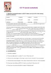 ED TV - reality TV movie worksheet