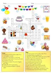 English Worksheet: Birthday party - crossword puzzle