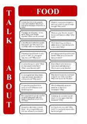 English Worksheet: Food - 18 conversation cards (editable)