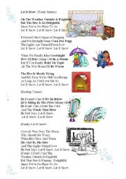 English Worksheets: UPGRADED MP3 LINK (in description) Christmas New Year Song WITH MP3 easydownloadable linc LET IT SNOW