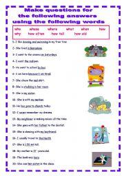 English Worksheets: USE ALL QUESTION WORDS. YOLANDA