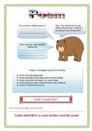 Brown Bear Poem Activity (part 1/2) - 3 pages