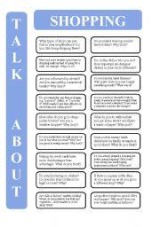 English Worksheet: Shopping - 18 conversation cards (editable)