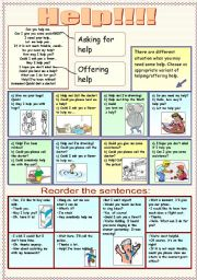 English worksheet: How to ask for help and to offer help