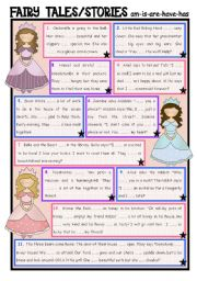 English Worksheet: Fairy Tales/ Stories (21) am, is, are, have, has