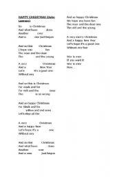 John Lennon Happy Christmas War Is Over Esl Worksheet By Ppedraza