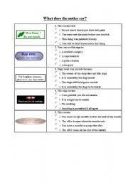 English Worksheets: What does the notice say? II