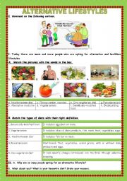 English Worksheet: FOOD- Eating habits/Alternative Lifestyles