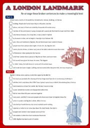 English Worksheet: London / Big Ben Reading Comprehension (Broken Sentences, +Key)
