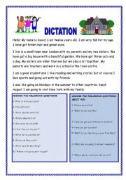 English Worksheet: DICTATION FOR BEGINNERS WITH QUESTIONS. YOLANDA