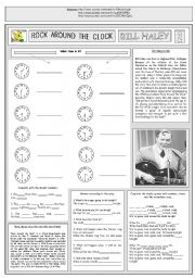 English Worksheet: ROCK AROUND THE CLOCK - BILL HALEY - PART 02 - FULLY EDITABLE AND FULLY CORRECTABLE
