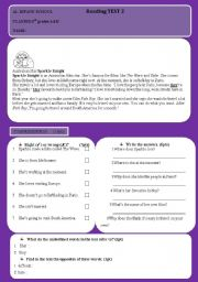English worksheet: Sparkle Knight-Reading Test