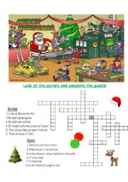 English Worksheet: Christmas Vocabulary Crossword