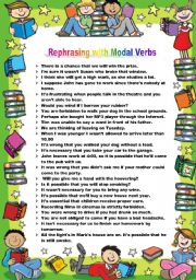 English worksheet: Rephrasing with Modal Verbs