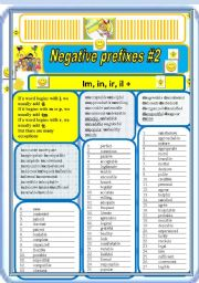 Negative prefixes step 2 il, ir, im, +