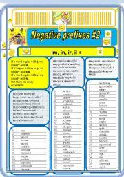 English Worksheet: Negative prefixes step 2 il, ir, im, +
