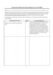 English Worksheet: Annotations Template for Into the Wild