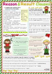 English Worksheet: Reason & Result Clauses  (because, as/since, so, so...that, such...that, and therefore/as a result)
