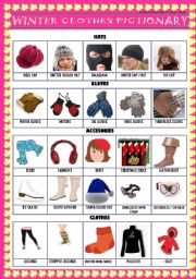 English Worksheet: PICTIONARY OF WINTER ACCESORIES & SOME CLOTHES - Editable!!!