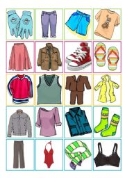 English Worksheet: Clothes � memory game [20 words X 40 cards + cards back + B&W version + instructions + additional tasks] ((6 pages)) ***editable