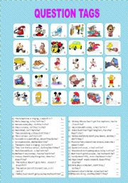 English Worksheets: QUESTION TAGS -EDITABLE