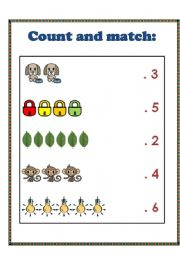 English worksheet: count and match the number