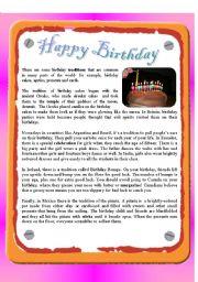 English Worksheet: Reading - Happy Birthday