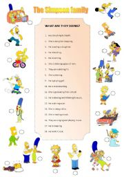 English Worksheet: The Simpson family. What are they doing?