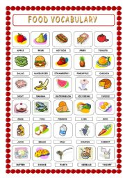 FOOD VOCABULARY AND WORKSHEET (3 pages) - ESL worksheet by