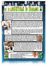 English Worksheet: CHRISTMAS AROUND THE WORLD - PART 7 – IRELAND  (B&W VERSION INCLUDED) - READING COMPREHENSION