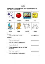 English Worksheet: MOVERS Exam CAMBRIDGE YLE (set 1)
