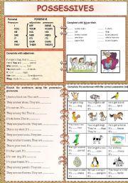 English Worksheet: POSSESSIVES