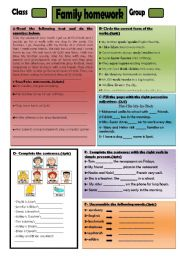 English Worksheet: family homework