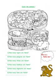 English Worksheets: Count the animals at the zoo