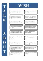 English Worksheet: Wish - 18 conversation cards (editable)
