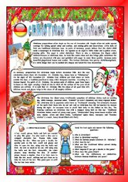 CHRISTMAS AROUND THE WORLD - PART 8 – GERMANY  (B&W VERSION INCLUDED) - READING COMPREHENSION