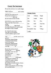 English Worksheet: Frosty The Snowman Song & Activity
