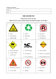 English Worksheet: Speaking and Reading Test: Signs Around You