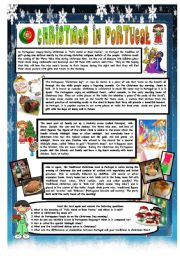 English Worksheet: CHRISTMAS AROUND THE WORLD - PART 9 – PORTUGAL (B&W VERSION INCLUDED) - READING COMPREHENSION