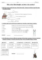 English Worksheet: King Arthur and the Black Lnight