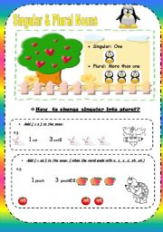 English Worksheets: Singular and Plural nouns ( 4 Pages )