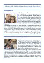 English Worksheets: William & Kate/Charles & Diana: Comparing the relationships