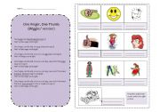 English Worksheets: One Finger, One Thumb (Wiggles)
